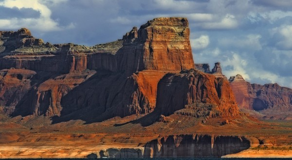 Lake Powell bluffs seen from a boat