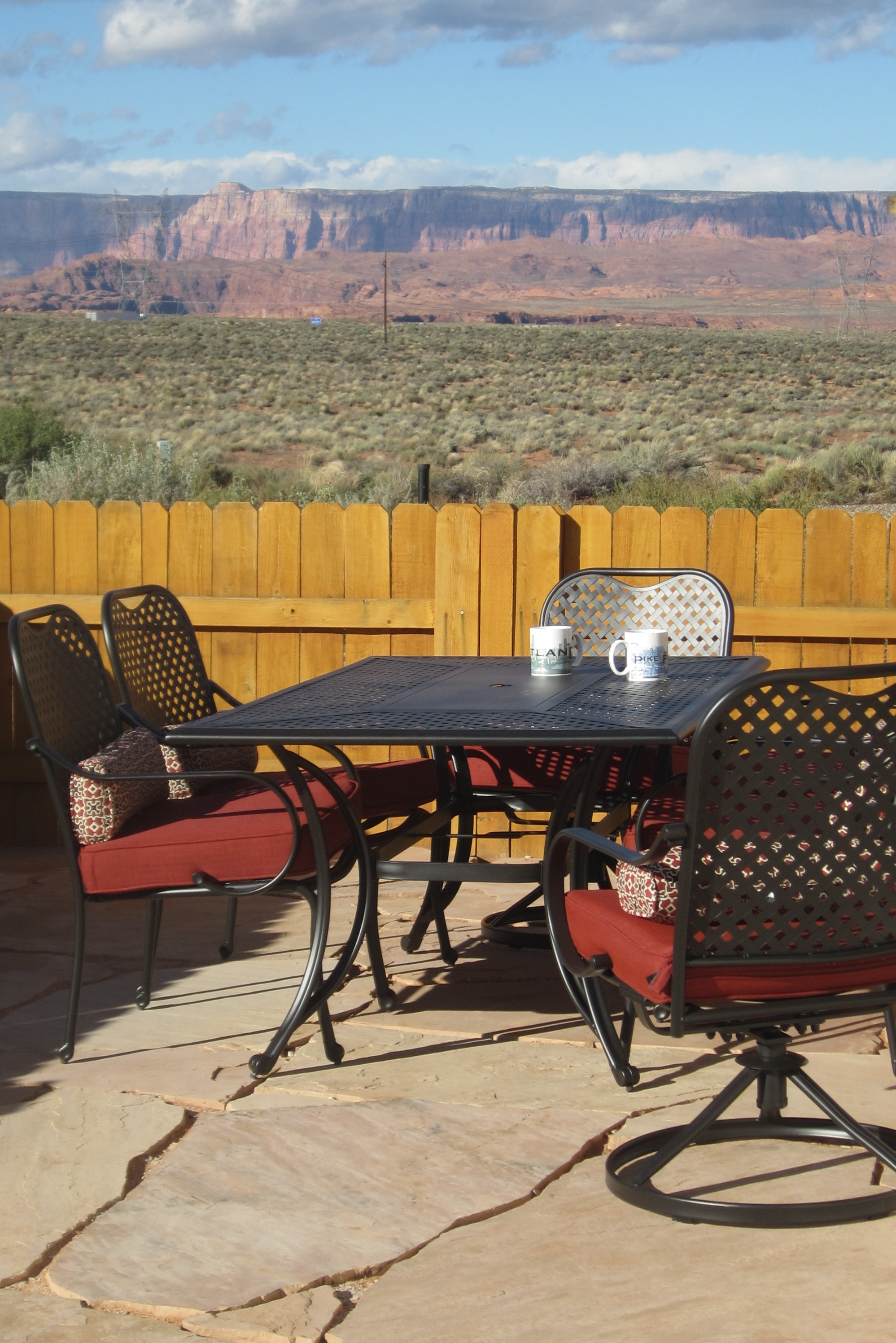 Vermillion Cliffs viewed from teh courtyard patio table in Page, AZ