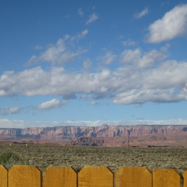 Vermillion Cliffs as seen from the courtyard in Page, AZ